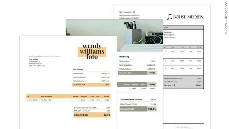 Verschiedene mit einem Rechnungsprogramm geschriebene Rechnungen